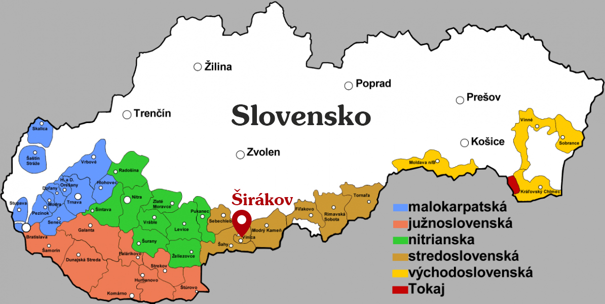Mapa vinařské oblasti Slovensko